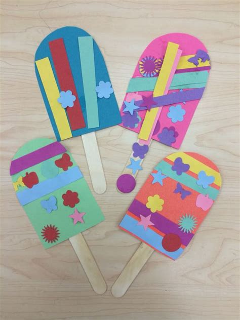 Kindergarten Paper Crafts - popsicle summer craft for preschoolers kindergarten