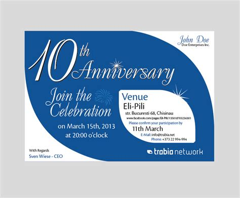 company anniversary invitation card template corporate invitation e card design exles to