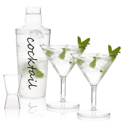 martini shaker set cocktail shaker set 4 inc 2 martini glasses plastic