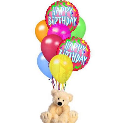 design house of flowers happy birthday balloon bouquet with bear design house of