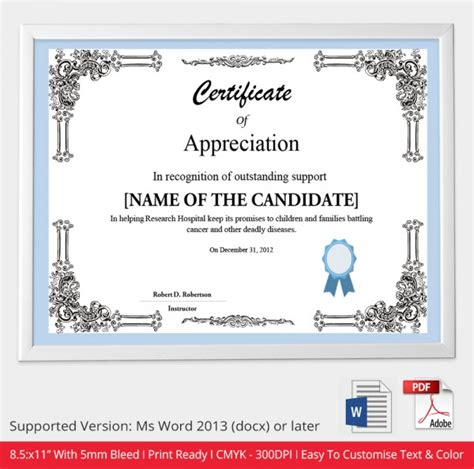 certificate of appreciation template doc certificate template 49 free printable word excel pdf