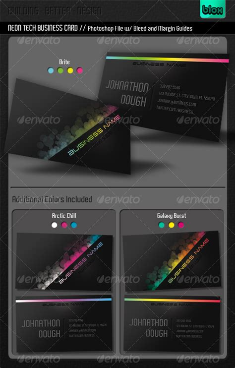 neon business cards templates neon tech business card by blox graphicriver