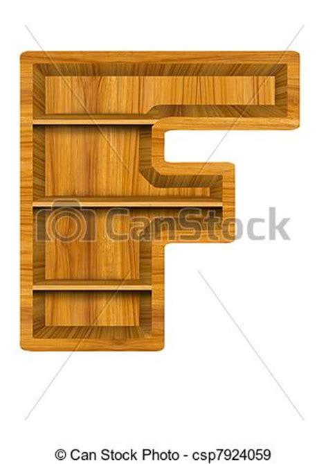 stock illustration of wooden shelf alphabet letter f