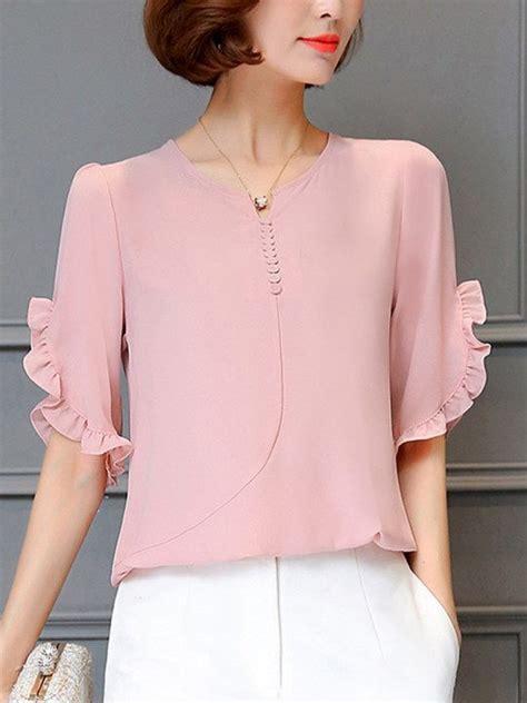 Plain Ruffle Trim Shirt split neck ruffle trim plain chiffon blouse en 2019 ropa