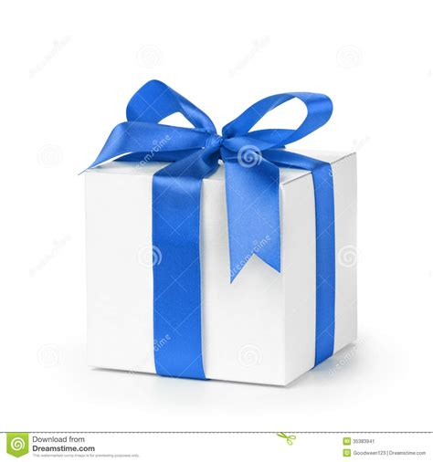 gift wrapped boxes paper gift box wrapped with blue ribbon stock image