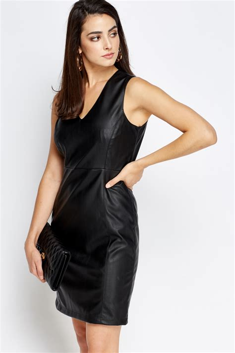 v neck black faux leather dress just 163 5