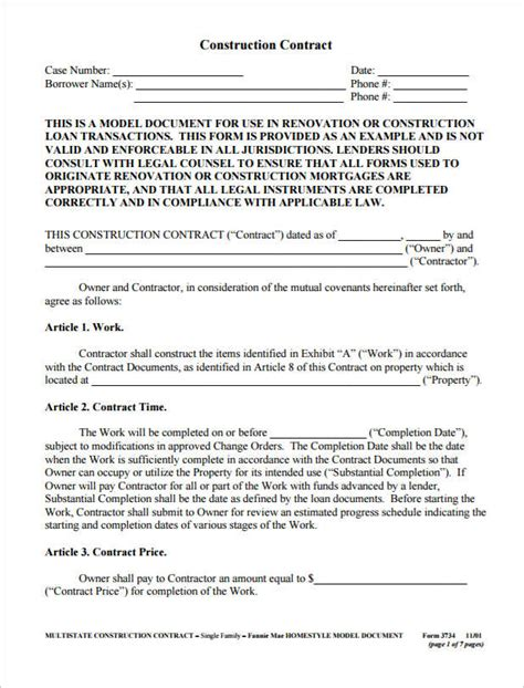 free construction forms templates 12 construction agreement template free word pdf formats