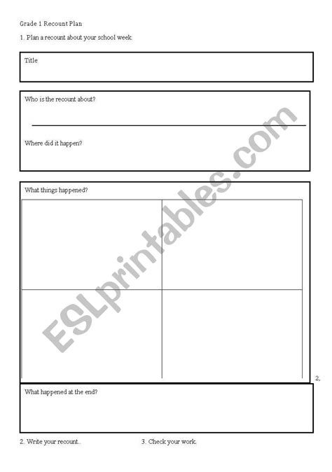 worksheets recount writing frame