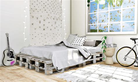 sims  blog pallet bed frame  blanket  mxims