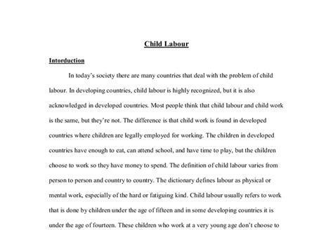 Child Labor Essay by Speech On Child Labour Essay
