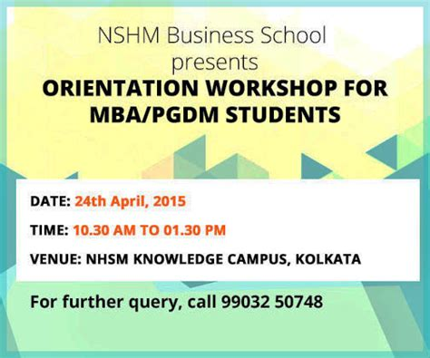 Marketing Events For Mba Students by Orientation Workshop For Mba Pgdm Students Nshm