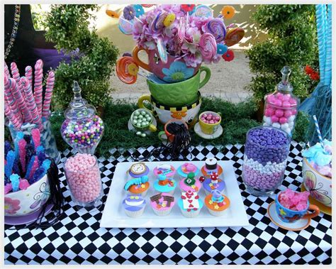 themed party alice in wonderland alice in wonderland mad tea party candy buffet birthday
