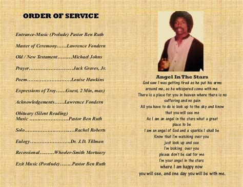 Troy's memorial service program Oct 2014