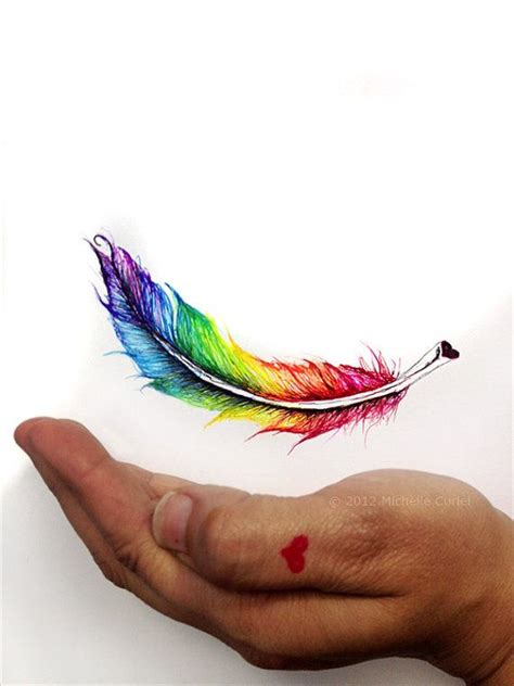rainbow feather tattoo single rainbow feather original drawing 8x11