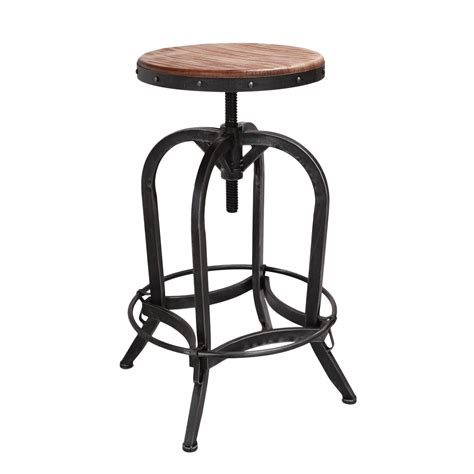 restaurant metal bar stools adeco rustic metal bar stool with wooden top ch0165