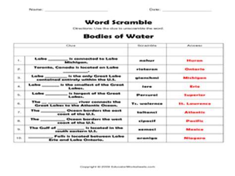 bodies of water worksheet word scramble bodies of water 4th 5th grade worksheet