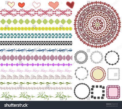 Set Of Arabesque Pattern Frame Border | set of arabesque pattern frame border stock vector