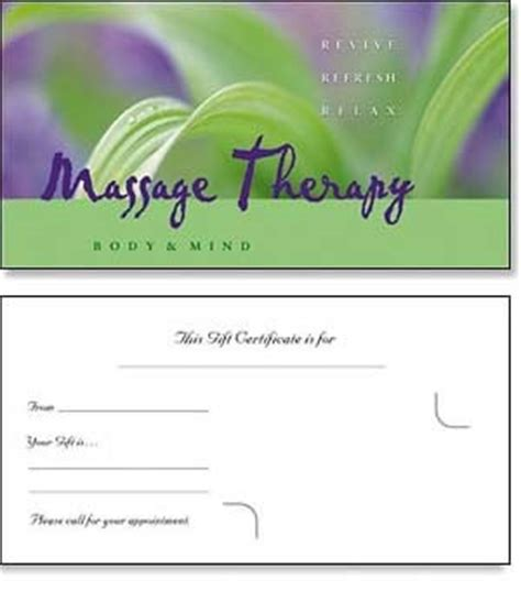 Massage Gift Card Template - word template gift certificate christmas new calendar template site
