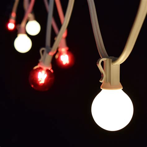 50 red frosted white commercial string lights white wire