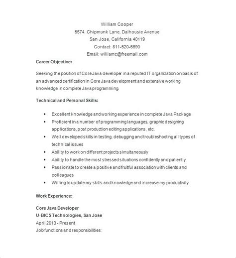 java developer unique resume experience resume format one year experience resume