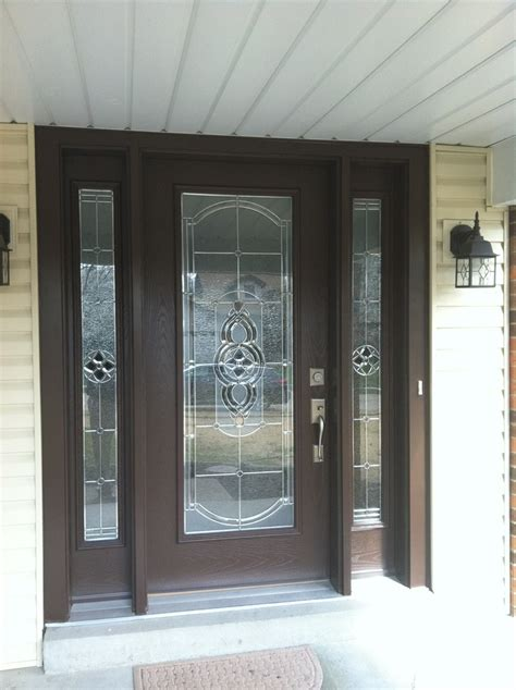 Glass Front Door Pro Via Entry Door With Sidelights Tudor Brown Finish With Cheyenne Stained Glass Zinc Caning