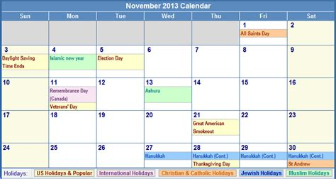 Calendar November 2013 November 2013 Calendar With Holidays Pictures To Pin On