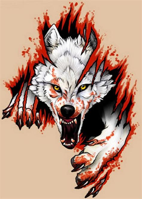 angry wolf with claws