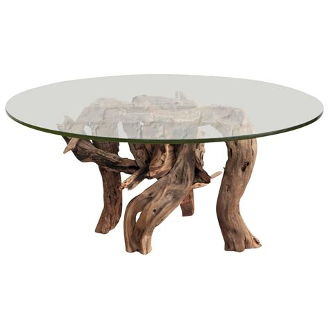 driftwood coffee table round glass top for sale at 1stdibs