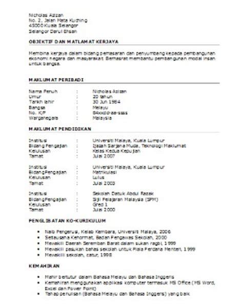 Sle Resume Bahasa Melayu Contoh Resume Lengkap Dan Terkini