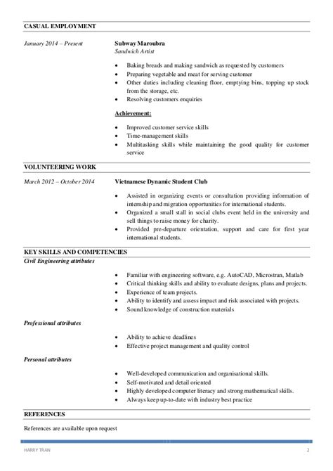 Subway Resume by Subway Resume Exle Resume Ideas