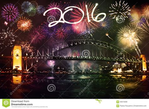 new year celebration length fireworks with numbers 2016 the bridge stock photo