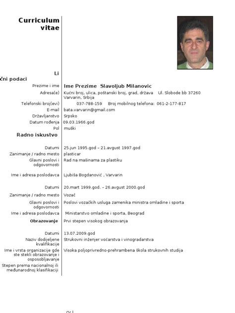 format obrazac za cv cv srpski prazan
