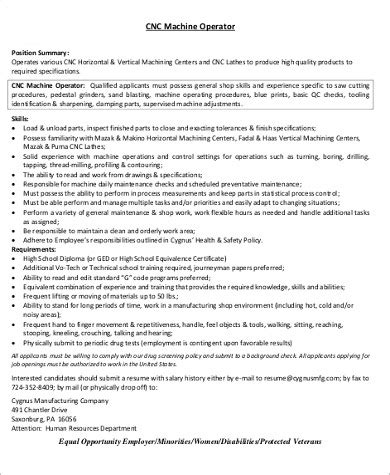 Cnc Machinist Sle Resume by Sle Machine Operator Resume 6 Exles In Word Pdf
