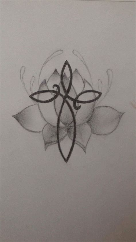 cross and flower tattoo infinity cross on lotus flower design for