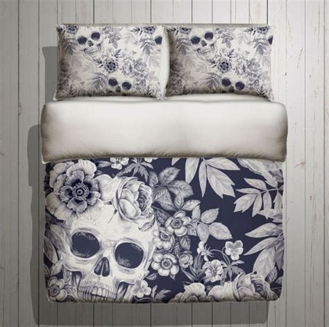 skull bedroom decor skull bedding blue print mega print with large by inkandrags decorating the home we don t