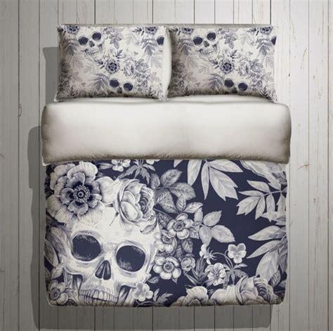 skull bedroom decor skull bedding blue print mega print with large by