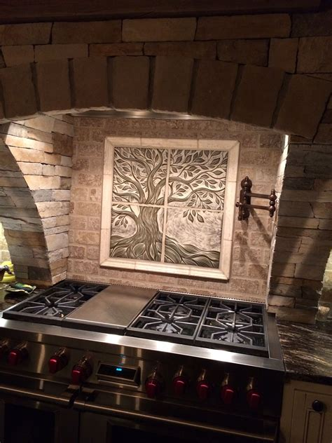 this is a custom 24 quot x 24 quot sculptural ceramic backsplash