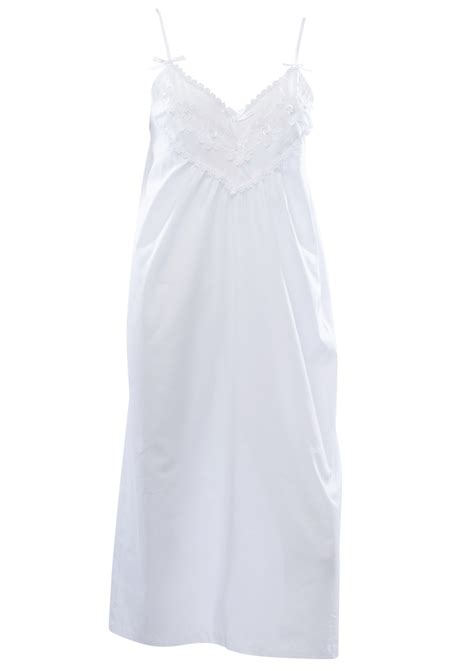 floral lace nightdress white cotton adjustable