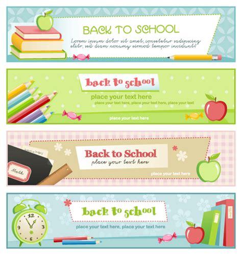 banner design education set of school elements banners vector 02 vector banner