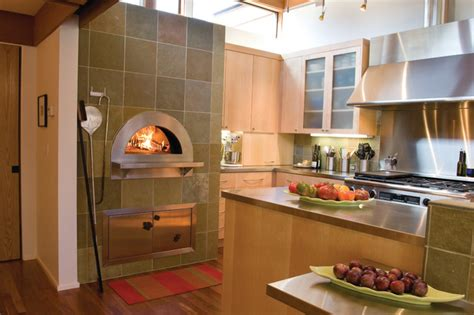 indoor wood fired pizza ovens modern kitchen other
