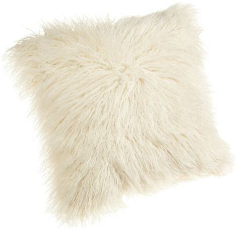 faux fur pillow brentwood 18 inch mongolian faux fur pillow white fluffy