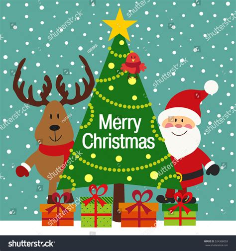 christmas cards shutterstock greeting card santa deer vector stock vector 524368003