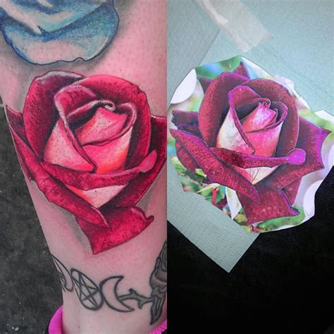 real looking rose tattoo realistic by afictiontale on deviantart