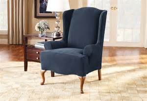 Wingback Chair And Ottoman Slipcover Sure Fit Stretch Pique Wing Chair
