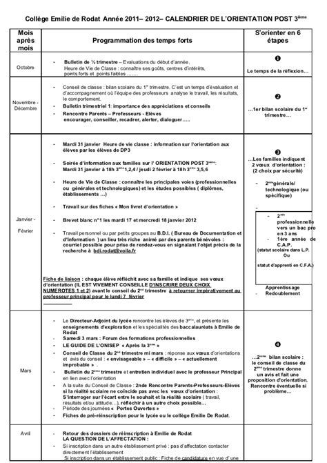 Reunion info orientati on parents janv 2009 calendrier