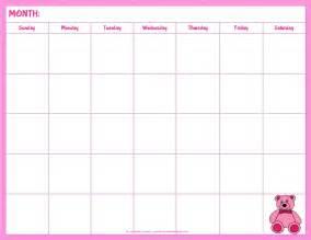 blank calendar template kids calendar 2017 printable