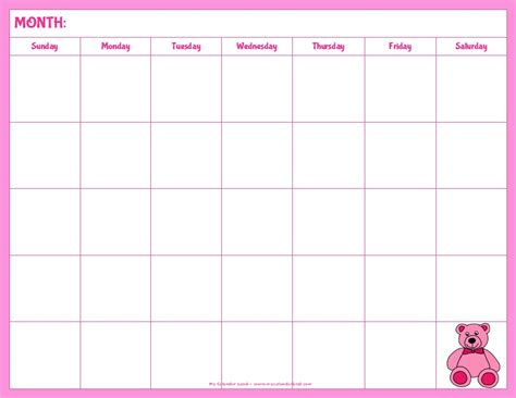 7 best images of cute printable blank calendar cute