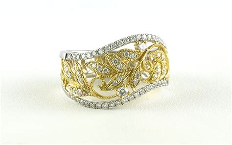 leaf pattern diamond ring wide style leaf pattern diamond fashion ring in two tone