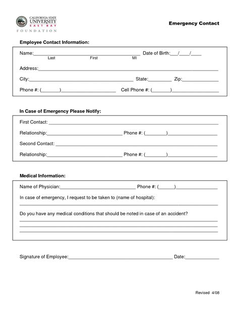 employee emergency contact form template best photos of new employee contact form employee