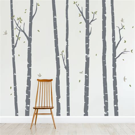 forest wall sticker birch tree wall decals forest wall decal wallums